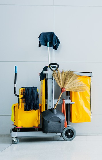 cleaning supplies cart